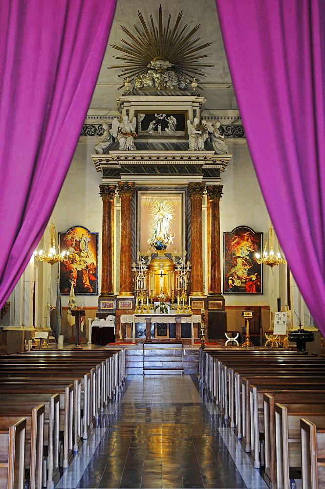 View down the central aisle of the La Purisima Concepcion Church, La Nucia, Alicante, Costa Blanca, Spain