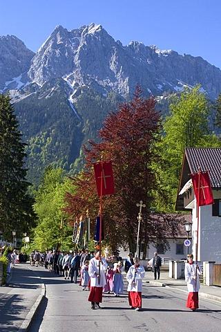 Grainau Werdenfelser Land country of Werdenfels district of Garmisch-Partenkirchen Upper Bavaria Germany Corpus Christi Procession