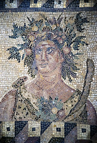 Cyprus Paphos excavation district house of the Dionysos about 200 A.C. floor mosaic seasons spring