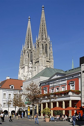 Regensburg Upper Palatinate Bavaria Germany former main guard house at the Neupfarrplatz New Parish Square in front of the cathedral St Peter