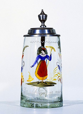 "Franconian Museum Feuchtwangen Middle Franconian Bavaria Germany beer mug made by glass gift of a girl inscripted ""Der schoenier ist mei Michel"" marked 1855 L. Kohn"
