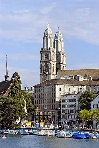 Grossmuenster above the Limmat Quai Zurich Switzerland