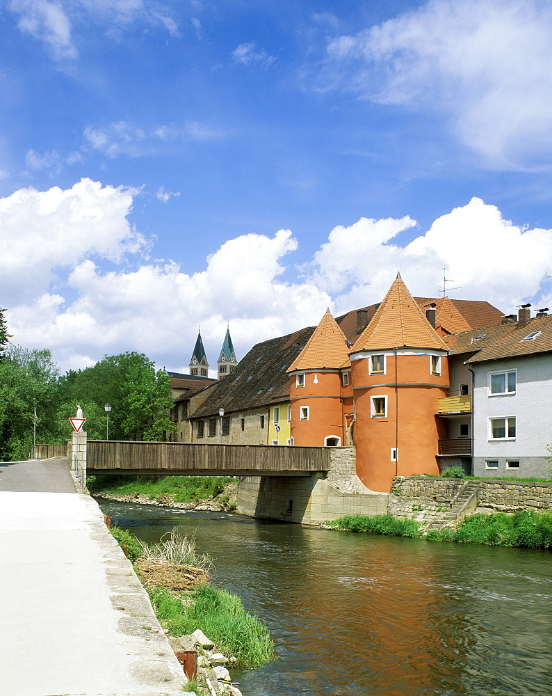 Cham Upper Palatinate Bavaria Germany the river Regen in front of the Biertor