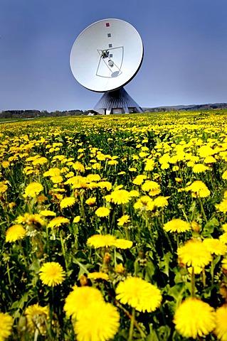 Antenna aerial museum on a dandelion meadow in Raisting Bavaria Germany