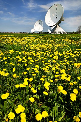 Antenna antennas aerials aerial museum on a dandelion meadow in Raisting Bavaria Germany