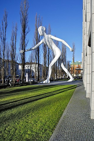 Walking Man in front of reinsurance building, Schwabing, Munich, Bavaria, Germany