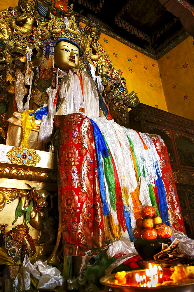 Buddha figure in the Ganden convent (4300m) near Lhasa, Tibet