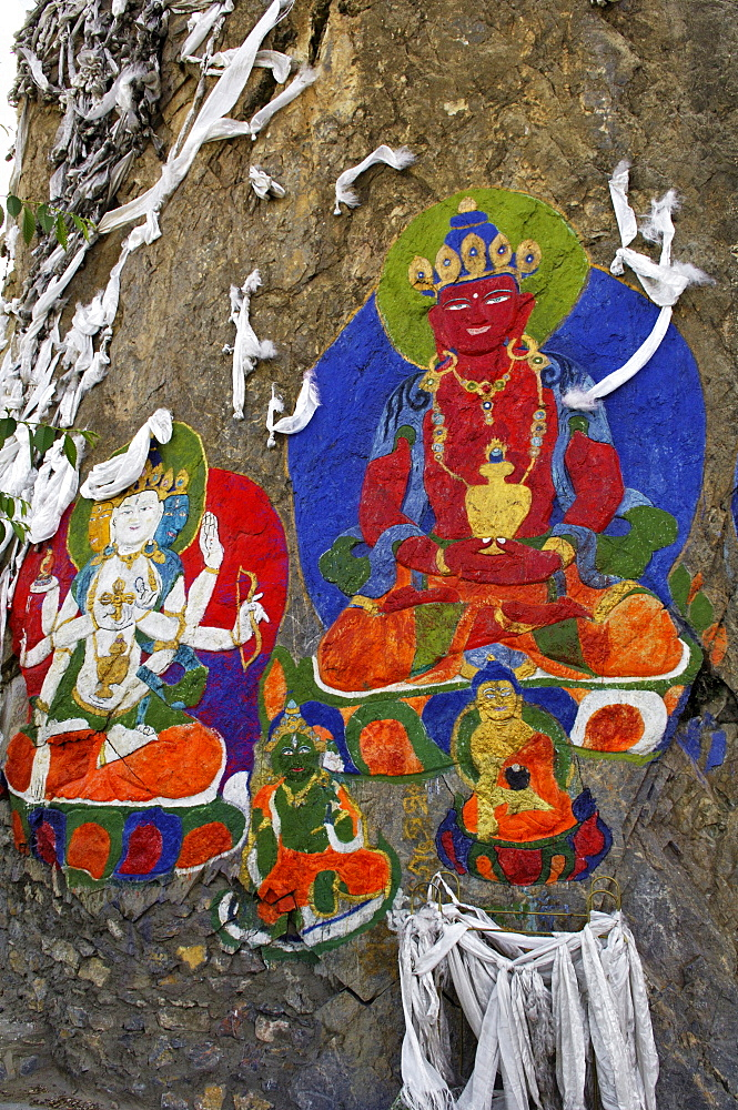 Painting near the rock relief of Buddha Shakyamuni, Tibet