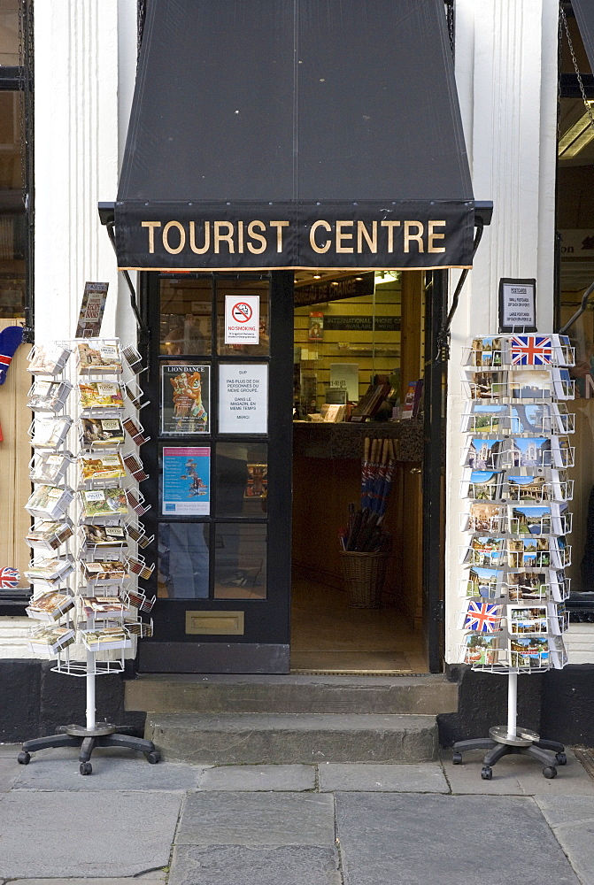 Postcards outside of a tourist information booth, Bath, England, UK, Europe