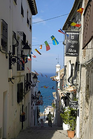 Alley in the old part of town of Altea, Costa Blanca, Spain
