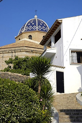 Steep lane in the old part of town of Altea, Costa Blanca, Spain