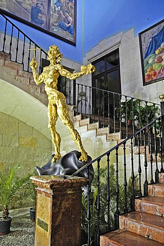 Sculpture by Salvador Dali in the stairway of the entrance are of the town hall, ayuntamiento, Alicante, Spain