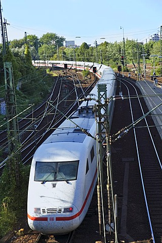 Railway system and intercity express of German railways in the central station, Hamburg, Germany