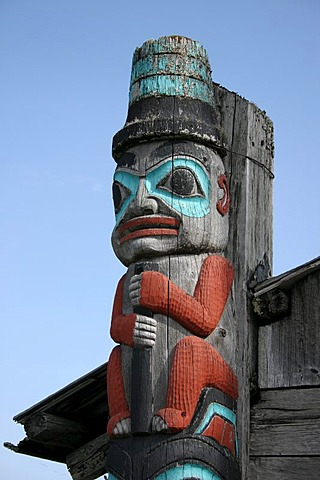 Old Totem pole in the Totem village of Haines Alaska USA