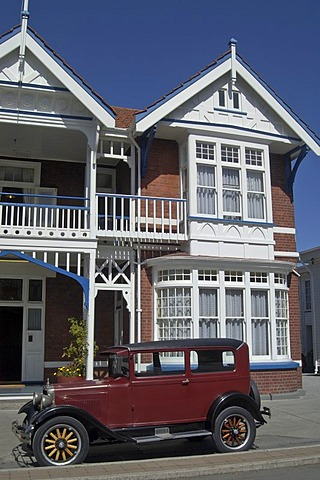 Oldtimer in front of Bed and Breakfast in Christchurch New Zealand