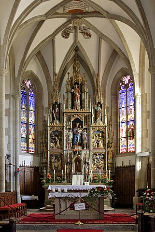 Late gotic altar in the church inaugurated to the saints of Ulrich and Wolfgang, Deutschnofen, Eggen valley, South Tyrol, Italy