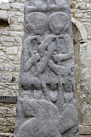 Details of the celtic crosses in the Kilfenora church, Burren, Clare, Ireland