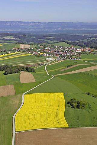 Aerial shot of a canola field, Lower Austria, Austria