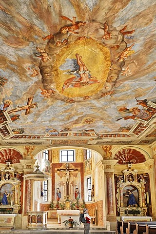 Frescoes in the Holy Cross church in the monastery of Saeben, Klausen, South Tyrol, Italy