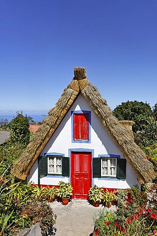 Straw covered Santana houses, Santana, Madeira, Portugal