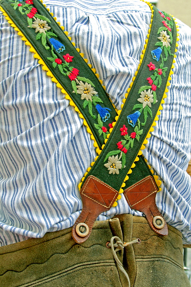 Embroidered Suspenders and leather trousers Bavaria Germany