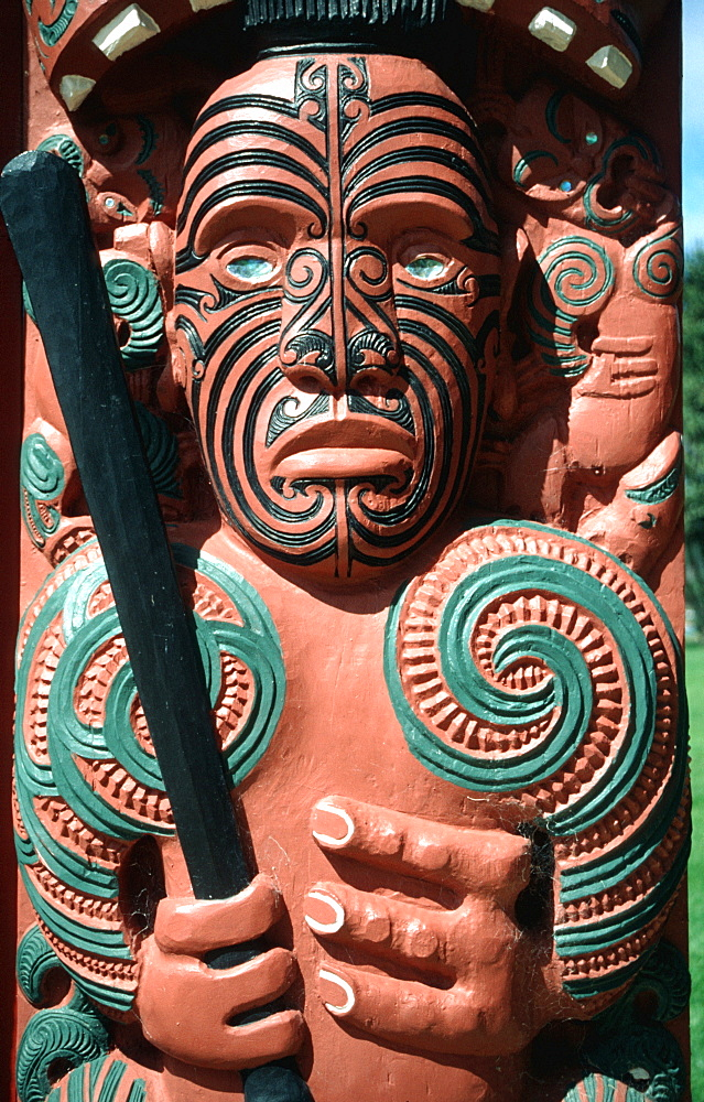 Maori art painted face and three fingers New Zealand - 832-285267