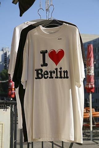 I love Berlin - white T-shirt in a souvenir shop in the Nikolaiviertel, Berlin, Germany, Europe