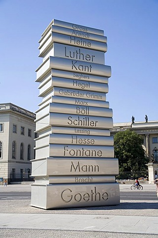 Installation ìcountry of the ideasî with books of German writers at the Bebelplatz, Unter den Linden, Berlin, Germany, Europe