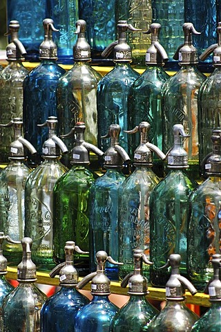 Syphons in the antiques market on the Dorrego Square in San Telmo, Buenos Aires, Argentina.