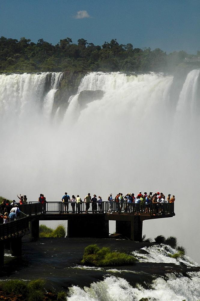 Waterfalls, tourists on viewing platform, Iguacu, Brazil, South America