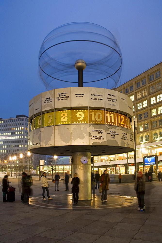 World time clock at the Alexanderplatz, Mitte, Berlin, Germany, Europe