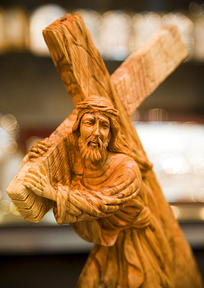 Wood carving of Jesus carrying his cross, Bethlehem, Israel - 832-287243