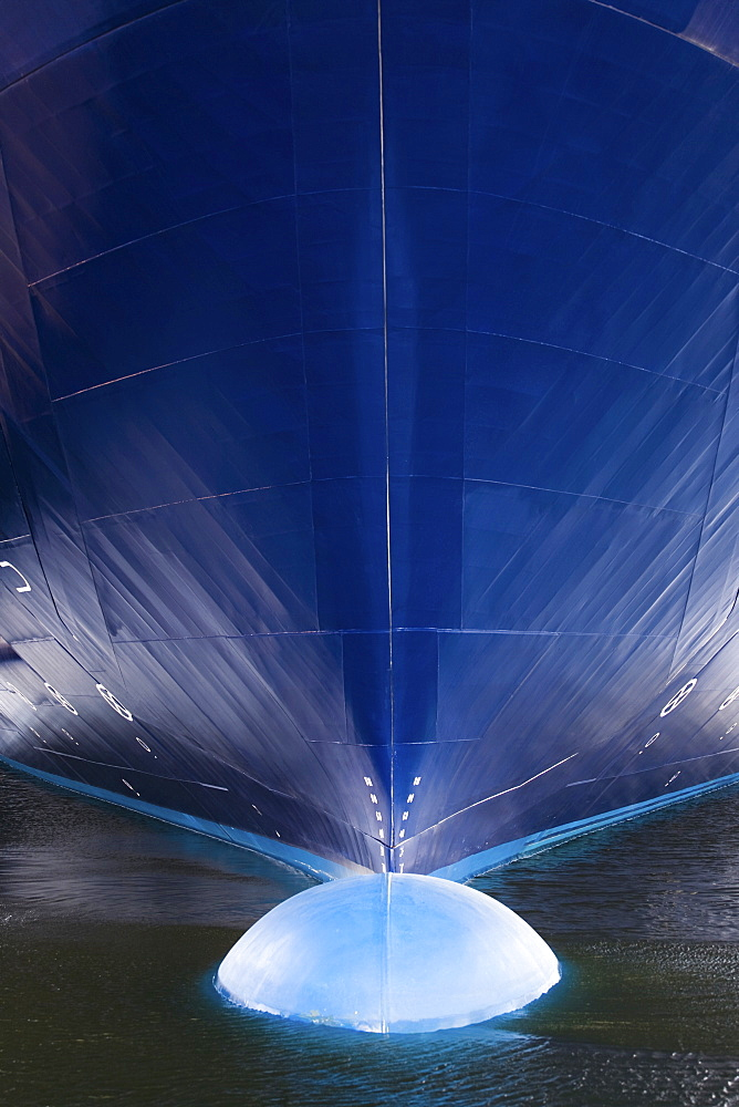 Bulbous bow of the Color Magic, a cruise liner and ferry on regular service between Kiel, Germany and Oslo, Norway