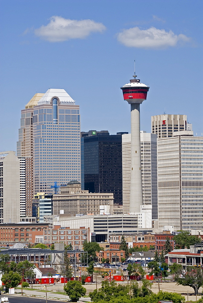 Downtown Calgary and Calgary Tower from the south east, Alberta, Canada