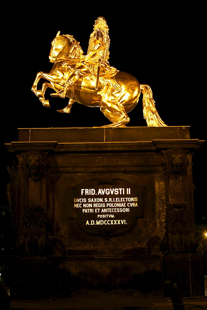 Gilt equestrian statue, golden statue of Augustus II the Strong, Dresden, Saxony, Germany