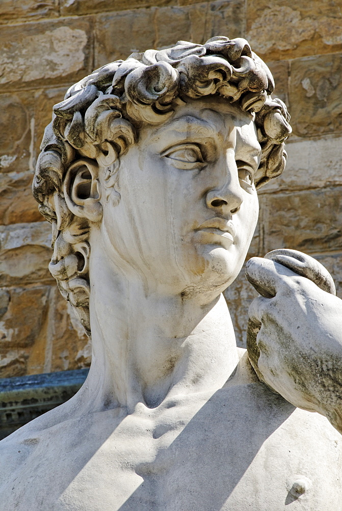 Detail of the Renaissance statue of David by Michelangelo Buonarroti, Florence, UNESCO World Heritage Site, Tuscany, Italy, Europe