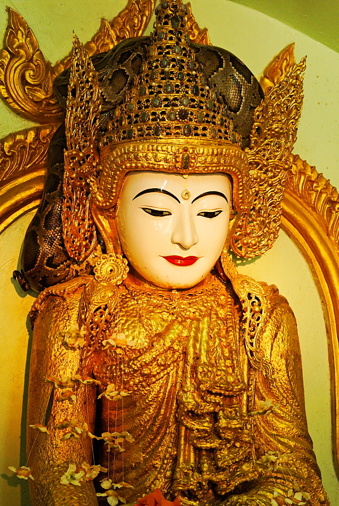 Gilded Buddha Statue in the Paleik Snake Temple, Burma, Myanmar, Asia