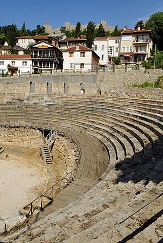 Ancient theatre in Ohrid on Lake Ohrid, UNESCO World Heritage Site, Macedonia, FYROM, Former Yugoslav Republic of Macedonia, Europe