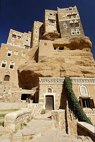 Dar al Hadschar, historic palace of Iman Yachya in Wadi Darr, Dhar, Yemen, Arabia, Arab peninsula, the Middle East