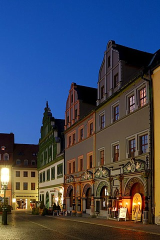 UNESCO World Heritage Site Marketplace at Night Weimar, Thuringia, Germany