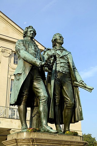 UNESCO World Heritage Site Monument Goethe and Schiller before German National Theatre Weimar, Thuringia, Germany