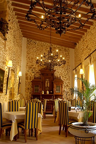 Restaurant, country hotel, finca, Es Puig de Ros d'Alt, Majorca, Balearic Islands, Spain