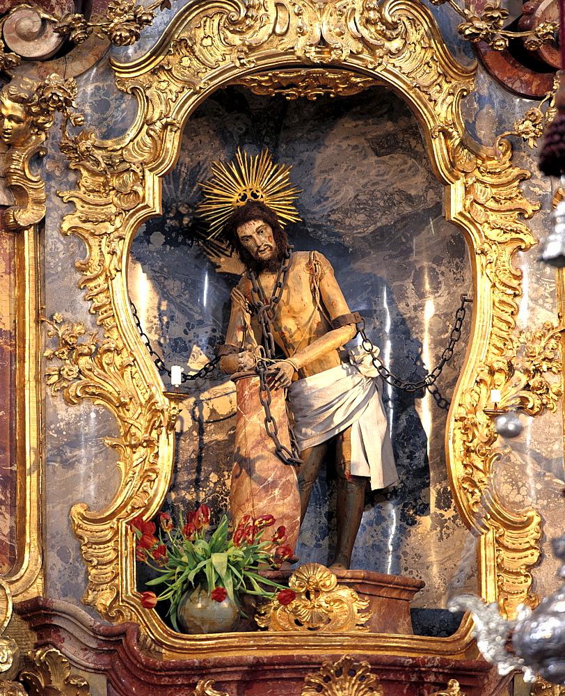 Wieskirche, jesus in chains, Steingaden, Pfaffenwinkel, Upper Bavaria, Germany
