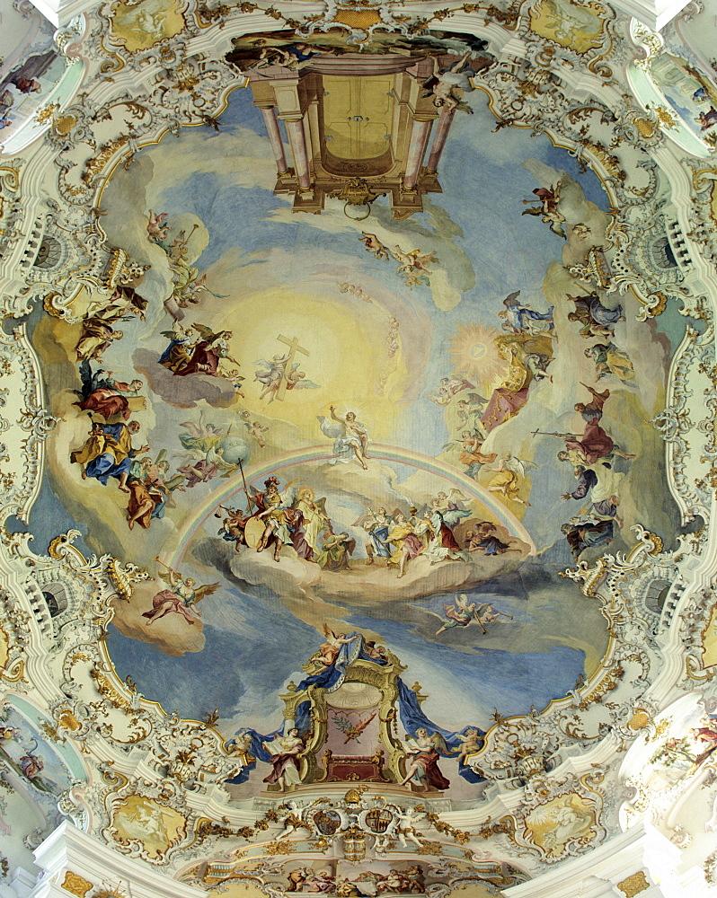 Wieskirche, ceiling paintings, frescos, Steingaden, Pfaffenwinkel, Upper Bavaria, Germany