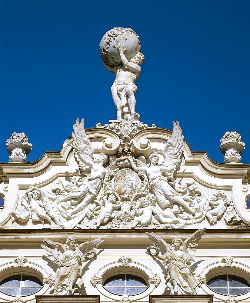 Linderhof Castle, Atlas statue, Upper Bavaria, Bavaria, Germany, Europe