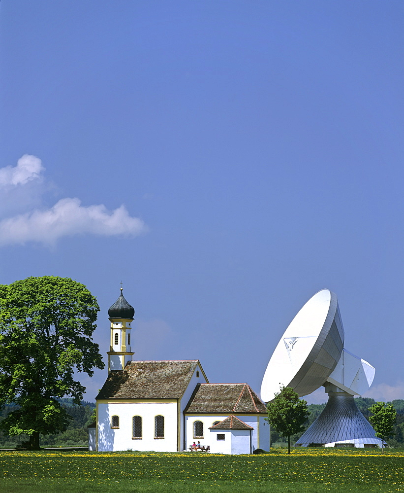 Antenna of the Satellite Earth Station Raisting, St Johann Chapel, Upper Bavaria, Bavaria, Germany