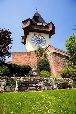 Grazer clock tower on the castle mountain in Graz, Styria, Austria