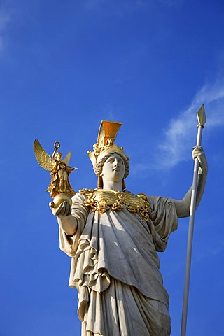 Athena's statue in front of the parliament in Vienna, Austria
