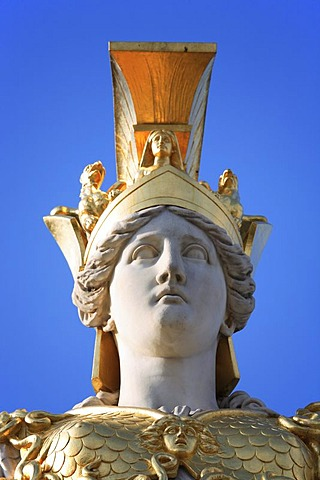 Head of the Athena's statue in front of the parliament in Vienna, Austria