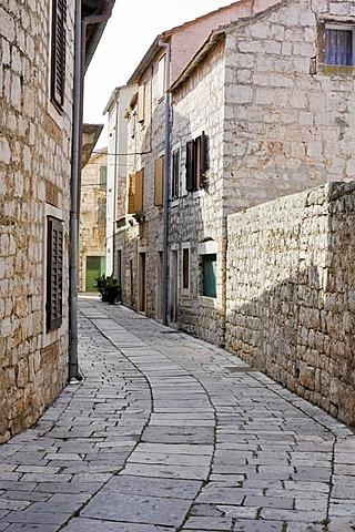 Narrow lane, Stari Grad, Island Hvar, Dalmatia, Croatia